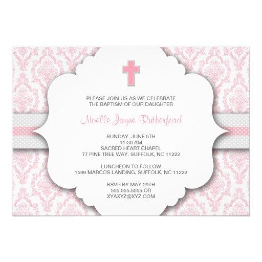 Invitation de baptême pour la damassé rose et gris