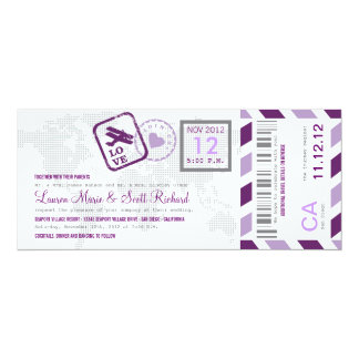 Invitation de billet de par avion de carte