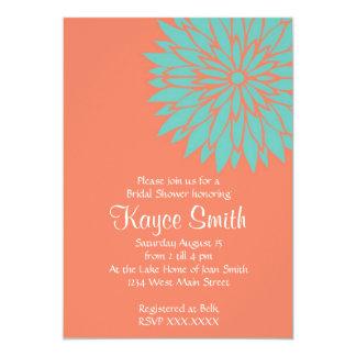 Invitation de corail de fleur de dahlia carton d'invitation  12,7 cm x 17,78 cm