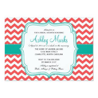 invitation de corail et de turquoise carton d'invitation  12,7 cm x 17,78 cm