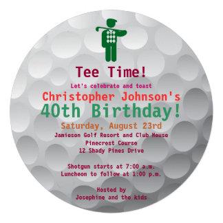 Invitation de fête d anniversaire de golf vert de