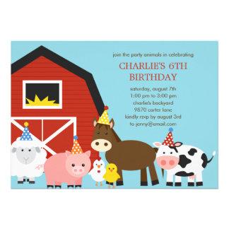 Invitation de fête d'anniversaire d'animaux de fer