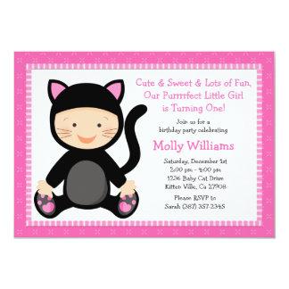 Invitation de fête d'anniversaire de chat de bébé carton d'invitation  12,7 cm x 17,78 cm