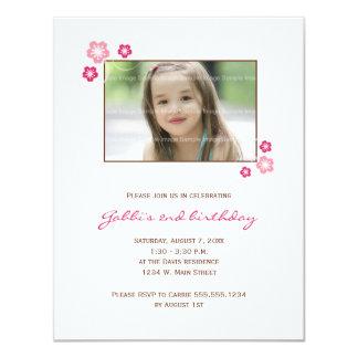 Invitation de fête d'anniversaire de fille de carton d'invitation 10,79 cm x 13,97 cm