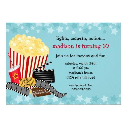 Invitation de fête d'anniversaire de film