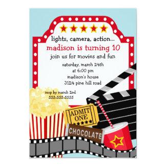 Invitation de fête d'anniversaire de film carton d'invitation  12,7 cm x 17,78 cm