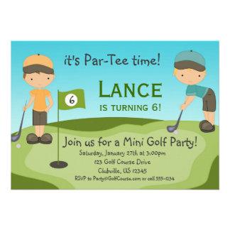 Invitation de fête d'anniversaire de golf de petit