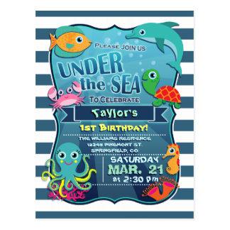 Invitation de fête d'anniversaire de la vie marine cartes postales