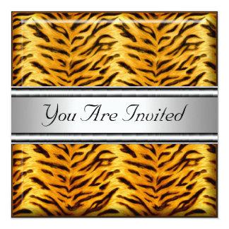 Invitation de fête d'anniversaire de peau de tigre