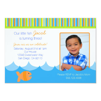 Invitation de fête d'anniversaire de poissons d'or carton d'invitation  12,7 cm x 17,78 cm