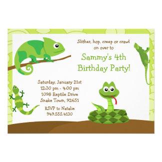 Invitation de fête d'anniversaire de reptile d'enf