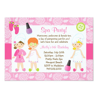Invitation de fête d'anniversaire de spa d'enfants carton d'invitation  12,7 cm x 17,78 cm