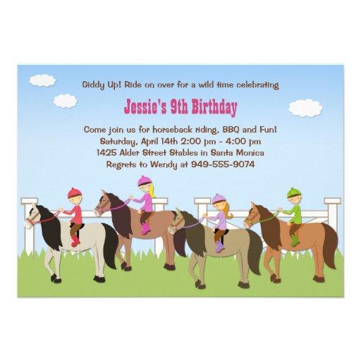 Invitation de fête d'anniversaire d'équitation