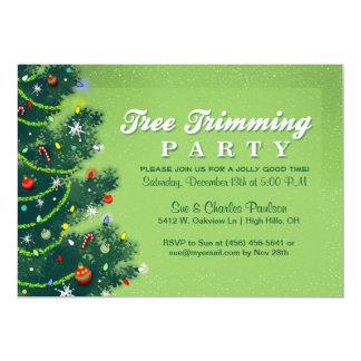 Invitation de fête de Noël de règlage d'arbre
