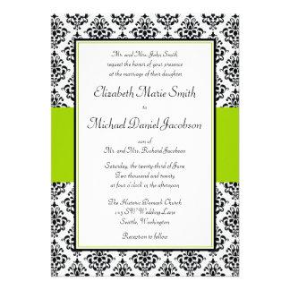 Invitation de mariage damassé de noir et de vert d