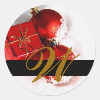Invitation de monogramme de mariage de Noël et joi Autocollant Rond