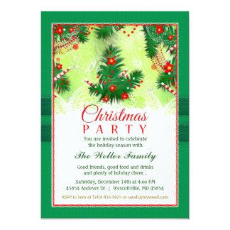Invitation de Noël - partie de fête rouge et verte