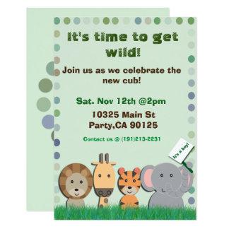 Invitation de partie de bébé de safari