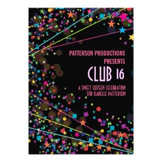 Invitation de partie de club du bonbon 16 à lampes