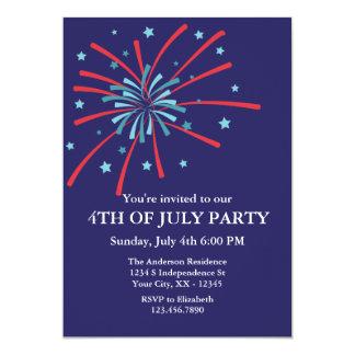 Invitation de partie de feux d'artifice 4 juillet