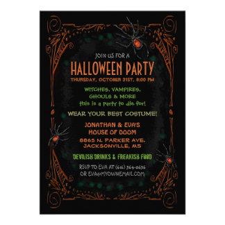 Invitation de partie de Halloween - araignées oran