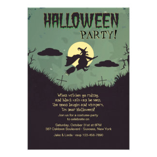 Invitation de partie de Halloween de sorcière de