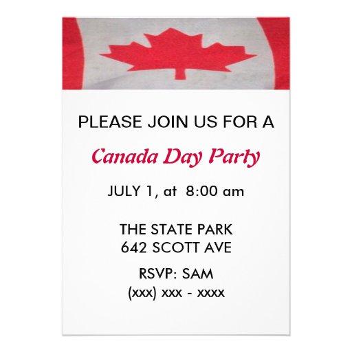 Invitation de partie de jour du Canada