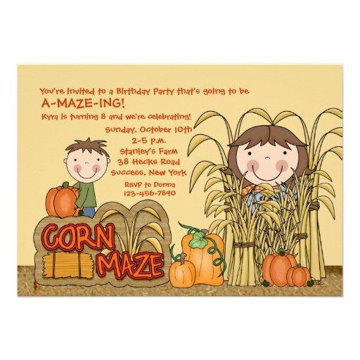 Invitation de partie de labyrinthe de maïs (fille)