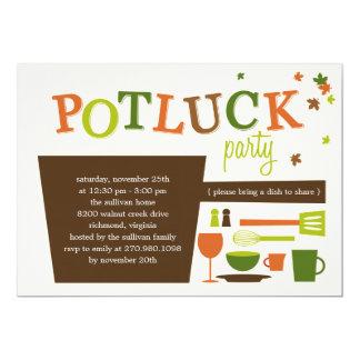 Invitation de partie de Potluck de thanksgiving