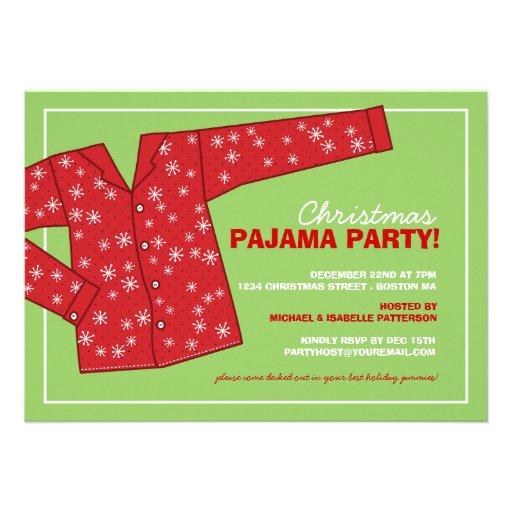 Invitation de partie de pyjama de vacances de Noël