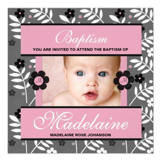 Invitation de photo de baptême pour le bébé décoré