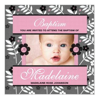 Invitation de photo de baptême pour le bébé décoré carton d'invitation  13,33 cm