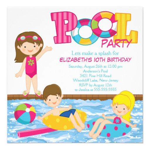 Invitation de réception au bord de la piscine d'an