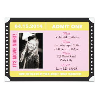 Invitation de style de billet avec la photo - rose carton d'invitation  12,7 cm x 17,78 cm