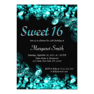 Invitation de turquoise de diamants du bonbon 16