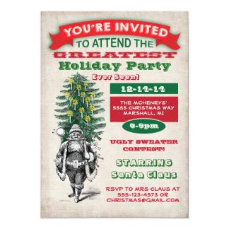 Invitation démodée de fête de Noël Carton D'invitation 12,7 Cm X 17,78 Cm