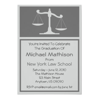 Invitation d'obtention du diplôme d'école de droit carton d'invitation  12,7 cm x 17,78 cm