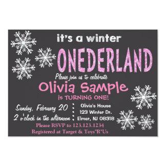 Invitation d'ONEderland d'hiver. Tableau Carton D'invitation 12,7 Cm X 17,78 Cm