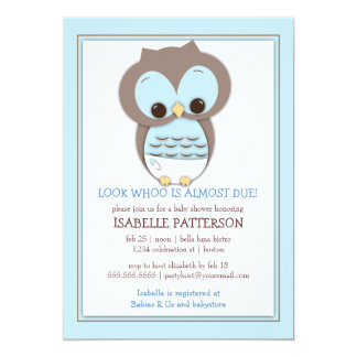 Invitation douce de baby shower de garçon de hibou carton d'invitation  12,7 cm x 17,78 cm