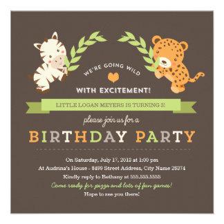 Invitation douce de fête d anniversaire de safari