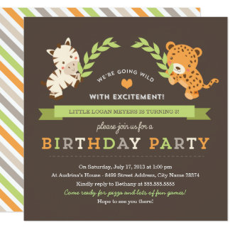 Invitation douce de fête d'anniversaire de safari