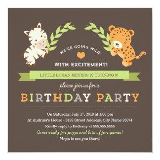 Invitation douce de fête d'anniversaire de safari carton d'invitation  13,33 cm