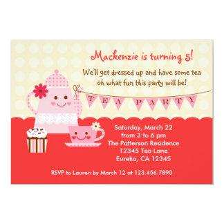 Invitation douce de fête d'anniversaire de thé carton d'invitation  12,7 cm x 17,78 cm