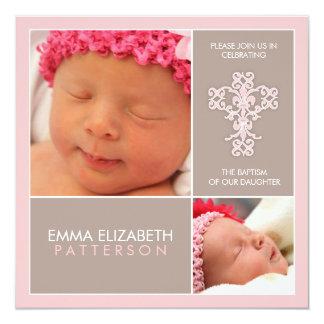 Invitation douce et moderne de bébé de baptême carton d'invitation  13,33 cm