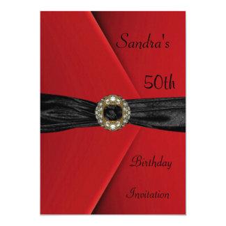 Invitation Elegant 50th Red Velvet Pearl Jewel Bow