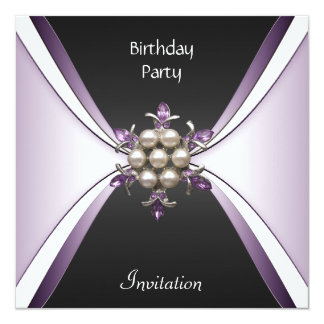 Invitation Elegant Birthday Mauve Black Jewel