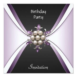 Invitation Elegant Birthday Mauve Black Jewel