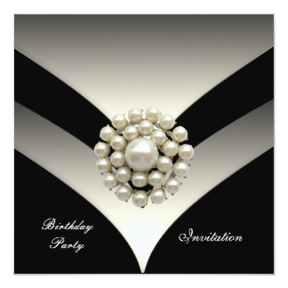 Invitation Elegant Birthday Party Pearl Black