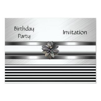 Invitation Elegant Black Stripe Birthday Party