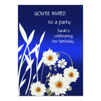 Invitation Elegant Blue White Floral
